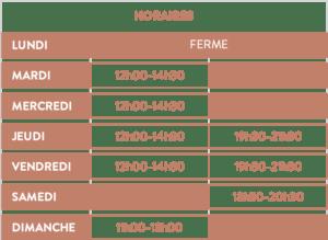 Horaires du restaurant Le Puy à Vins