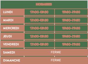 tableau horaires du Renaissance