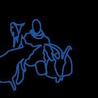 Illustration d'une femme s'occupant des chèvres en bleu