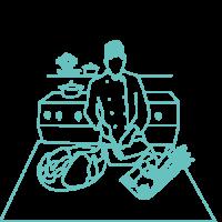 illustration d'une femme cheffe en cuisine
