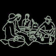 illustration groupe de pique-niqueurs sur l'herbe